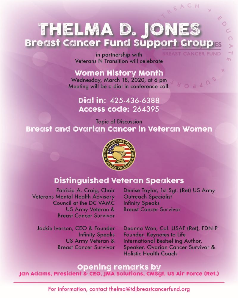 Thelma D Jones Breast Cancer Fund Support Group March 2020 Thelma D Jones Breast Cancer Fund